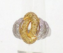 Other 14k Two Tone Gold 1.1ctw Fancy Yellow White Diamond Spiral Design Ring