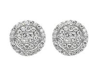 14k White Gold 11mm Halo Princess Invisible Quad Diamond Stud Earring 1.50ct