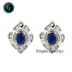 Other 14k White Gold 1.80ct Diamonds Oval Blue Sapphire Earrings 8.4 Grams