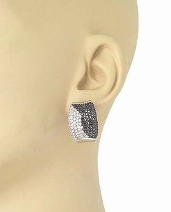 14k White Gold 2.40ctw White Black Round Cut Diamonds Drop Stud Earrings