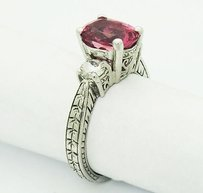 14k White Gold 2.63 Tcw Diamond Tourmaline Filigree Pavilion Ring R139