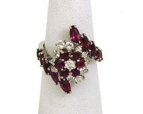 14k White Gold 2.95ctw Diamond Ruby Ladies Cocktail Ring
