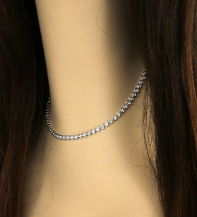 14k White Gold 5.4 Cts Diamonds Ladies Bezel Eternity Tennis Necklace