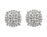 14k White Gold 9mm Halo Flower-shaped Quad Genuine Diamond Stud Earring 2.0ct