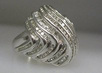 14k White Gold Baguette Round Diamonds Ladies Ring 7.75