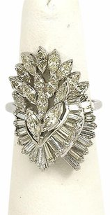 14k White Gold Carats Diamonds Ladies Cocktail Cascade Style Ring