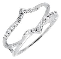 14k White Gold Chevron Diamond Ring Guard Jacket Enhancer Wedding Band 0.25ct..