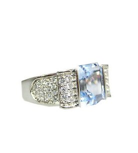 Other 14k White Gold Cz Light Blue Stone Ladies Ring