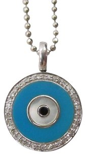14k White Gold Evil Eye In Turquoise Pave Set Diamonds On 15 Beaded Chain