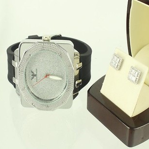 Other 14k White Gold Finish Over Silver Sim Diamond Men Earring Diamond King Watch Set