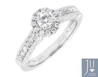 14k White Gold Halo Solitaire Genuine Diamond Engagement Wedding Ring 1.0ct