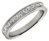 14k White Gold Invisible Princess Real Diamond Engagement Ring Band 0.75ct 4mm