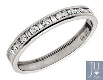 14k White Gold One Row Baguette Genuine Diamond Wedding Ring Band 0.25 Ct 3mm
