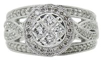 14k White Gold Over 1.00 Tcw Princess Round Cut Diamond Ring R755