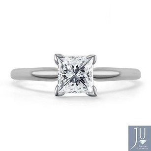 14k White Gold Princess Cut Solitaire Diamond Engagement Promise Ring 1.50ct