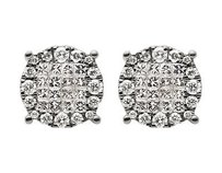 Other 14k White Gold Princess Invisible Real Diamond Cluster Stud Earrings .50ct 9mm