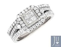 Other 14k White Gold Princess Set Quad Square Halo Diamond Engagement Bridal Set 1.0ct