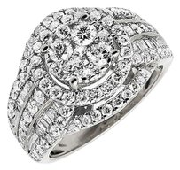 14k White Gold Round Baguette Cluster Diamond Engagement Bridal Ring Ct