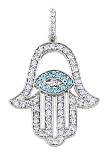 14k White Gold Sky Blue Diamonds Hamsa Hand Pendant