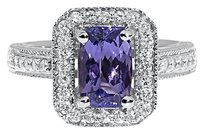 14k White Gold Womens Emerald Cut Tanzanite Diamond Fashion Cocktail Ring 2.18ct
