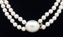 14k Y Gold Cultured Mabe Pearl Double Strand Necklace 16 Long N137