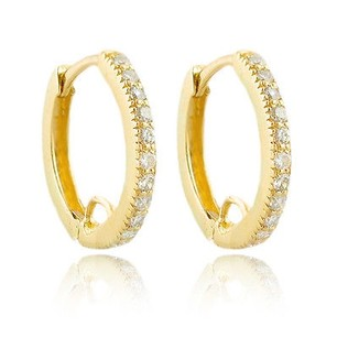 14k Yellow Gold 0.26ct Diamond Hoop Earrings 1.7 Grams 14mm