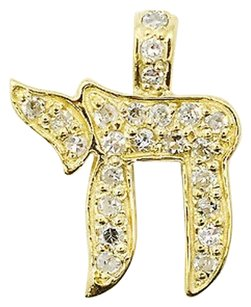 14k Yellow Gold 0.45ct Diamond Jewish Hai Charm Pendant 1.1 Grams