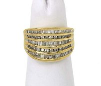 14k Yellow Gold 2ctw Baguette Round Cut Diamond Wide Band Ring