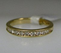 14k Yellow Gold Diamond Band Ladies Ring