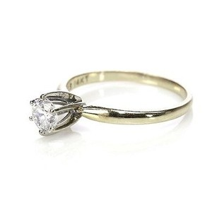 14k Yellow Gold Diamond Solitaire Engagement Ring Size 5