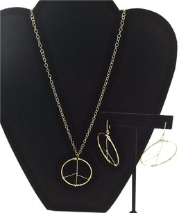 Other 14k Yellow Gold Filled 1420 Peace Symbol Pendant Necklace Earrings 18