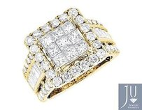 14k Yellow Gold Invisible Princess Diamond Wedding Engagement Fashion Ring Ct
