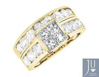 14k Yellow Gold Invisible-set Princess Real Diamond Engagement Bridal Set 3.0ct