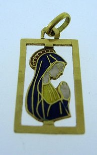 14k Yellow Gold Mary Mother Of Jesus Pendant Charm Necklace Christian Christ