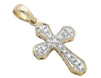 Other 14k Yellow Gold One Row Cross Solitaire Cut Diamond Pendant Charm 0.15ctw