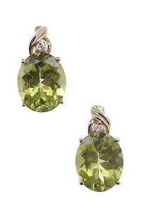 14k Yellow Gold Peridot Diamond Earrings