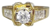 Other 14k Yellow Gold Princess Cut Invisible Diamond Ladies Ring 6.75 Blacque Ice