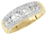 14k Yellow Gold Ring Genuine Diamonds Round Cut Channel Set Wedding Engagement