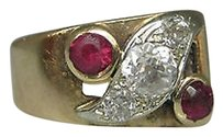 Other 14k Yellow Gold Ruby Diamonds Ladies Ring