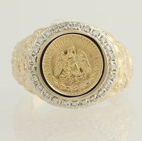 Dos Pesos Coin Ring - 14k Gold 90 Gold Coin Diamond Accents .25ctw