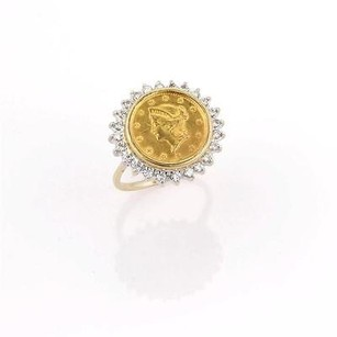 1852 Liberty Heads Gold Coin Set In 14k Diamond Accent Ring