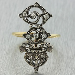 1870 Antique Victorian 14k Yellow Gold Rose Old Mine Cut Diamond Conversion Ring