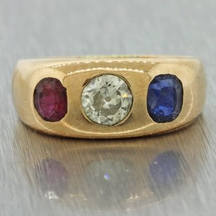 Other 1880s Antique Victorian Estate 14k Solid Yellow Gold Ruby Diamond Sapphire Ring