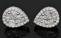 18k Gold Tcw Diamond Teardrop Shaped Cluster Stud Earrings E280