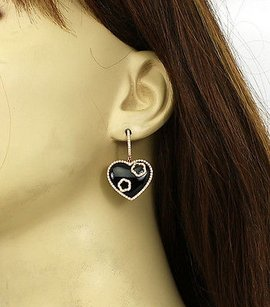 18k Rose Gold 1ctw Diamond Onyx Heart Shape Drop Dangle Earrings