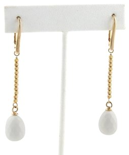 Other 18k Rose Gold White Agate Textured Bead Chain Drop Dangle Earrings