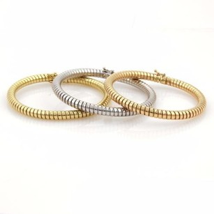 18k Tri-color Gold Set Of Tubogas Snake Design 5.5mm Flex Bangle Bracelet 72gr