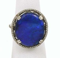 18k White Gold 10.84ctw Diamond Black Opal Cocktail Ring