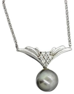 18k White Gold 10mm Tahitian Pearl 0.20ctw Diamond Pendant Necklace