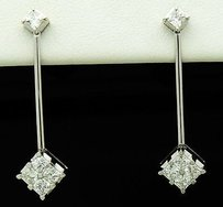 Other 18k White Gold 1.41 Tcw Vvs1-2 E-f Princess Diamonds Drop Dangle Earrings E167
